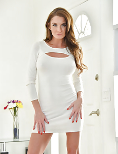 Yummy cougar hottie in a tight white dress