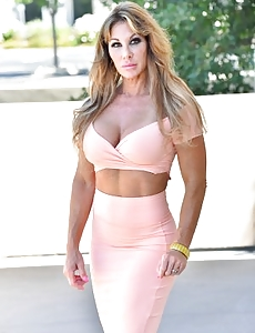 Toned up mummy hottie may be taking off the lady constricted peach dress