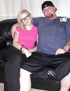 Super hot Amateur Nerd Girl Milks Off Guy On Couch