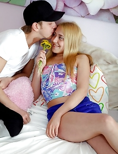 Lustful chap offering some flowers for hardcore teenage sex