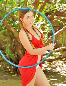Aurielee in nature's garb hulahooper